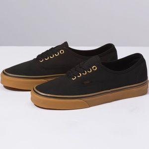 Vans Gum Authentic Black Canvas Waffle Lace Shoe